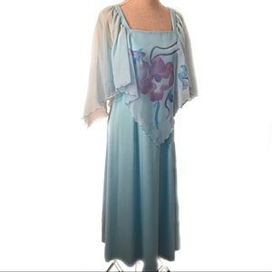 Gorgeous blue 70's scarf dress